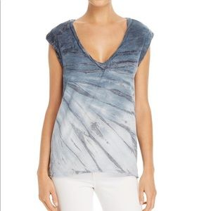Pam & Gela Kate Tie Dye Blue V-neck Muscle Tee